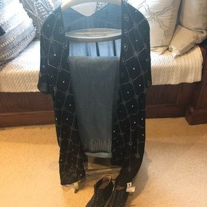 Studded vest or beach cover up black NWT